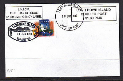 Fdc: Lord Howe Island Courier Post $1.80 Paid  Emergency Label..
