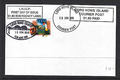 Fdc: Lord Howe Island Courier Post $1.80 Paid  Emergency Label...