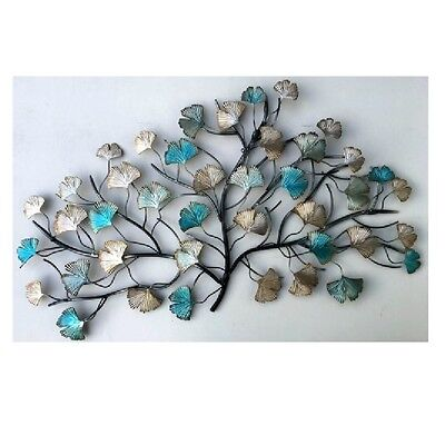 Home n Garden Metal Wall Art Wall Hanging Tree with Blue and Silver Leaves