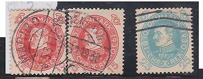 (K4-28) 1930 Denmark mix of 3 stamps 15 ORE x2 &25 ORE