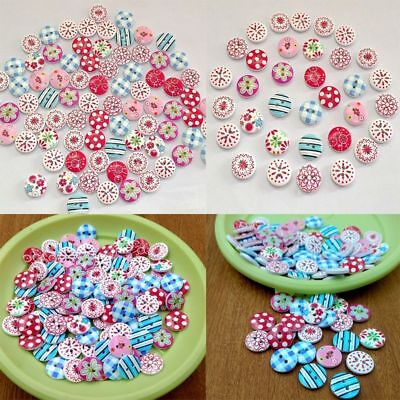 100Pcs 2 Holes Mixed Printing Round Pattern Wood Buttons Scrapbooking 15mm hv