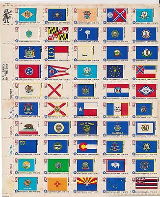 (K3-73) 1976 USA panel of 50 American Bicentenary flags