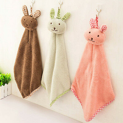 Hanging Bathing Wipe Bathroom Soft Lovely Cartoon Rabbit Hand Towel Candy Colors