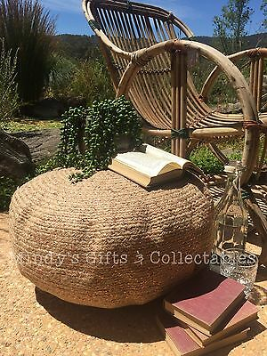 50cm Handcrafted Vintage Style Round Braided Jute Ottoman Pouffe Pouf Table