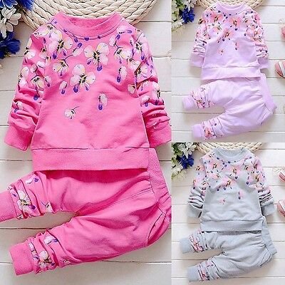 2PCS Newborn Toddler Kids Baby Girl Outfits Clothes T-shirt Tops+Pants Warm Set