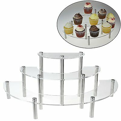 Half Moon Display Riser Cupcake Shelves 3 Tier Stand Clear Acrylic Table Retail