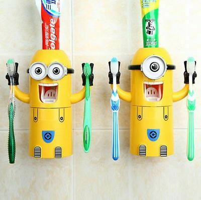 Despicable Me Minions Automatic Toothpaste Dispenser And 2 Toothbrush Holder Set