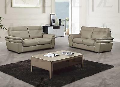 TAN TOP GRAIN Italian Leather Sofa & Loveseat Set 2Pcs American ...