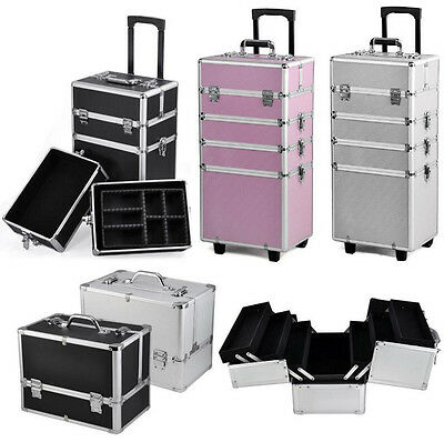 UK 4 in 1 Make Up Vanity Case Cosmetics Nail Set Hairdressing Box Beauty Trolley