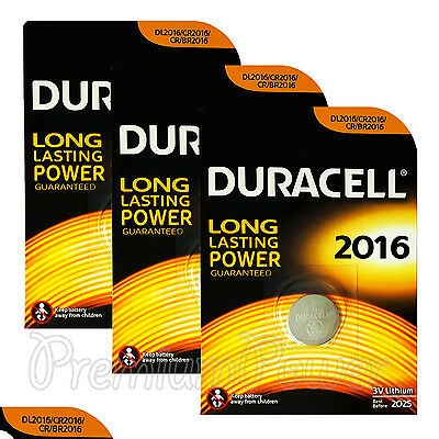 3 x Duracell Lithium Coin Cell batteries CR2016 DL2016 BR2016 3V EXP:2025