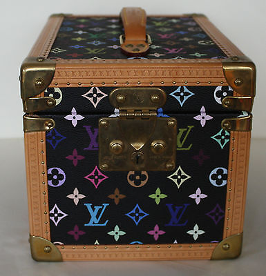 LOUIS VUITTON black Takashi Murakami monogram hard vanity case travel luggage