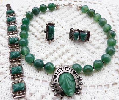 Mexico necklace Jade 925 Silber-Mexiko Taxco Halskette, Armband, Ring, Ohrringe