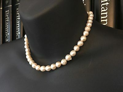 Vintage 14Ct Gold Genuine Semi Baroque Saltwater Pearl Necklace 14.5 Inch - 665