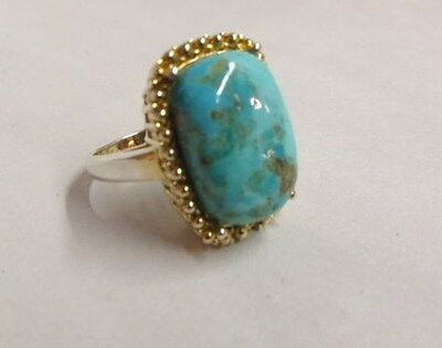 Vintage Ring, Sleepy Mountain Turquoise in  Gold plated Sterling Silver , USA