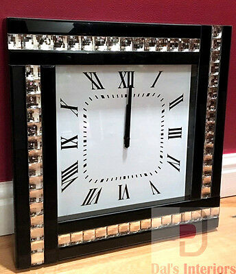 NEW Black Crystal Bevelled Mirrored Glass Silver Square Wall Clock 45x45cm