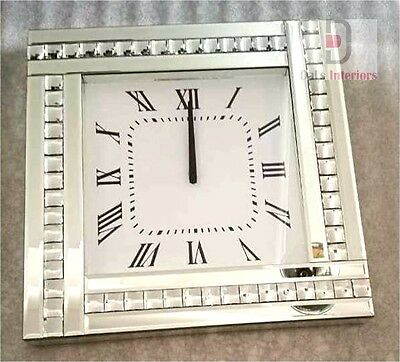 NEW Crystal Bevelled Mirrored Glass Silver Square Wall Clock 45x45cm