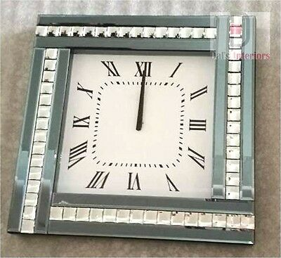 NEW Smoke Crystal Bevelled Mirrored Glass Silver Square Wall Clock 45cmx45cm