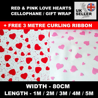 Red & Pink Love Hearts Clear Cellophane Valentines Birthday Present Gift Wrap