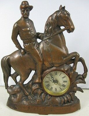 Antique Cast Iron Bronzed Teddy Roosevelt Rough Rider Clock