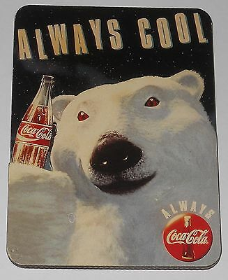 Always Cool Polar Bear Coca Cola Coke Vintage 1990's Refrigerator Magnet #219