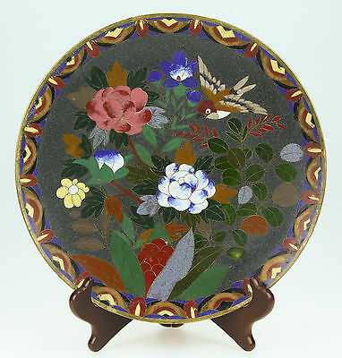 Antique Japanese Meiji Cloisonne Plate With Sparrow And Flowers