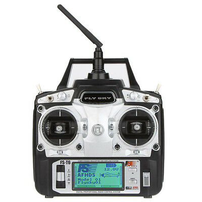 07S8 Flysky FS-T6 2.4GHz 6CH Mode 2 Transmitter with Receiver R6-B for RC Multi
