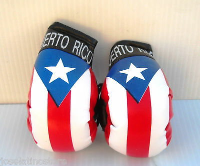 "Puerto Rico Flag Hanging ""Mini"" Boxing Gloves 3.5 x 2 inch Ornaments Only!!"
