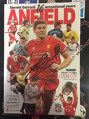 STEVEN GERRARD SIGNED  STOKE PROG celebrating 16 yrs @ anfield £40signed 7-12-16