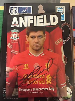 STEVEN GERRARD SIGNED 2014 Man City Programme £40signed 7-12-16