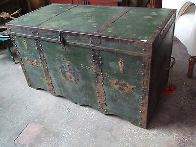 Victorian Antique Pine Painted Box/Chest/Trunk, Transylvania, 1900
