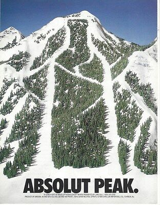 Print ad:  ABSOLUT PEAK ~ excellent condition, framable ~ Vodka Skiing Mountain