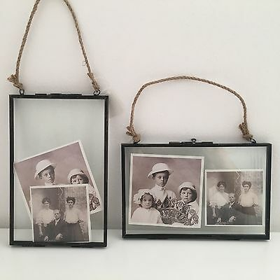 METAL VINTAGE INDUSTRIAL STYLE BRONZE HANGING FLOATING FRAME 5 x 7  CHOICE OF 2