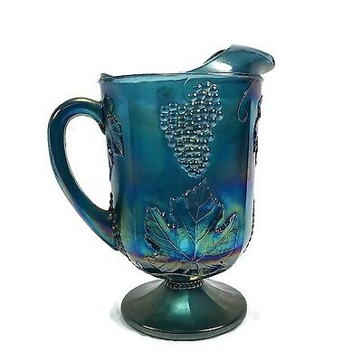 Blue Indiana Carnival Glass Grape Harvest Pitcher