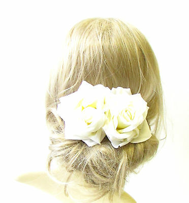 Large Ivory White Double Rose Flower Hair Clip Bridal Headpiece Bridesmaid 1295