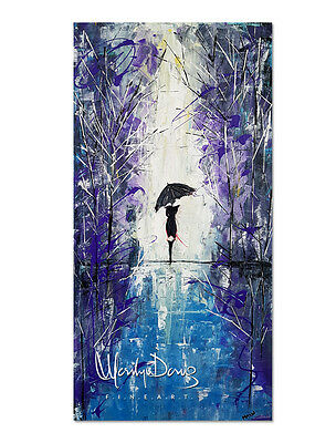 Original Acrylic Painting, Lady in Rain Artwork, Umbrella, Abstract Artwork