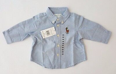 Polo Ralph Lauren Baby Boys Big Pony Long Sleeve Oxford Shirt Blue 3m 9m RRP £45