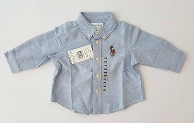 Polo Ralph Lauren Baby Boys Long Sleeve Oxford Shirt - Blue 3m 6m RRP £45