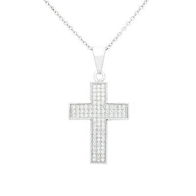 925 Sterling Silver Chain Necklace Cross Pendant White CZ Womens Jewellery Charm