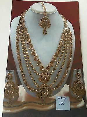 Bollywood Style Costume Jewelry Long 4 Line Necklace Set Bronze Crystal Stones .