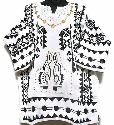 Mud Cloth Men's African Handcrafted Dashiki Shirt White&Black Organic One Size