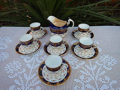 13 x Antique  blue Cobalt & gold Filigree with floral Coffee service