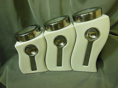 Unique WARPED Kitchen Canister Set of 3 each with spoon DALI STYLE Mindblowing!