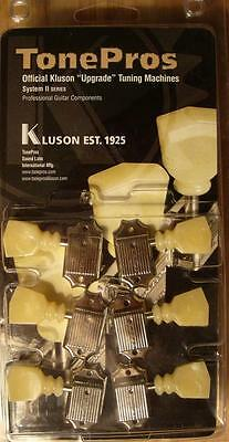 """TonePros Kluson Tuners  3 x 3,  """"Drop In""""  Double Ring Button,TPKV2-N, Nickel"""