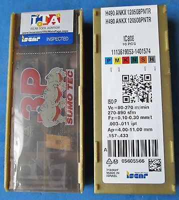 10 New Iscar Helido Inserts Iscar H490 Ankx 120508Pntr Ic808. (10Pcs)