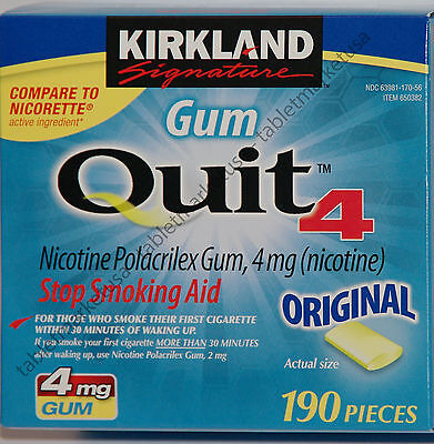 Kirkland Gum Quit 4mg Each Stop Smoking Aid New With Box Nicotine 190 Pieces