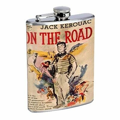 Jack Kerouac On The Road Book D545 Flask 8oz Stainless Steel