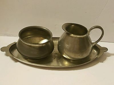 Vintage Royal Holland Daalderop KMD Tiel Pewter Cream Sugar Tray