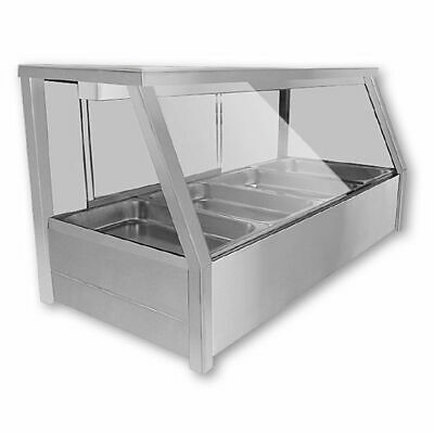 Countertop Hot Bain Marie Display, Angled Heated Food Unit, 6x 1/2 GN Pans