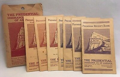 Lot of 7 Prudential Insurance Co. 1926-1945 Premium Payment Receipt Books
