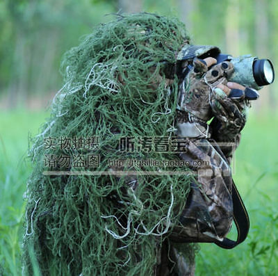 80*90cm Woodland Military Jungle Camouflage Net  Hunting Blind Ghillie Suit Hat